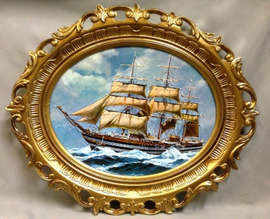 Segelschiff Meer Maritime Gemälde Schiff Bild Bilderrahmen Wandbild Antik 58X68