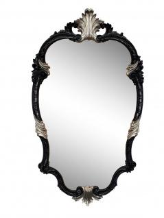 Wandspiegel Schwarz Silber Oval Barock 99x55 Antik Spiegel Friseurspiegel Rokoko
