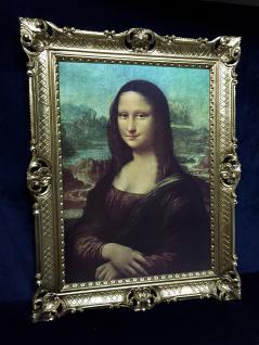 Gemälde Mona Lisa von Leonardo da Vinci barock 90x70 Bild mit Rahmen gold Antik - Vorschau 5