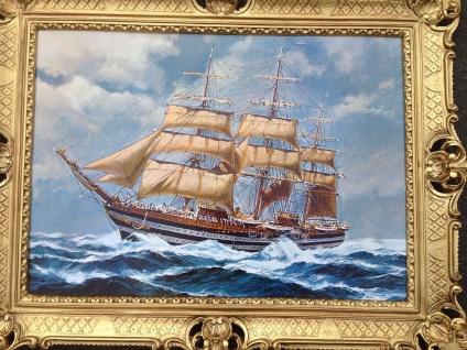 Bild mit Rahmen Schiff Gemälde Meer 90x70cm Segelschiff auf hoher See Maritim