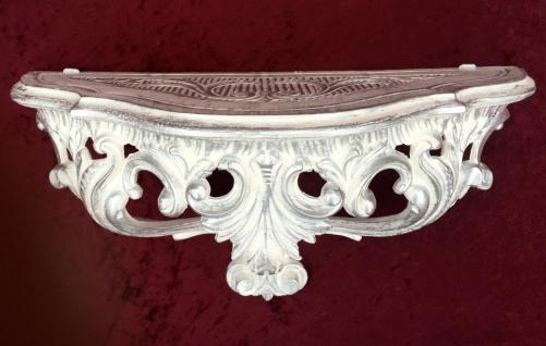 Konsole, Ablage Weiß-Silber Antik, Barock 38x20x16 Wandkonsole Wandregale 103083 - Vorschau 5