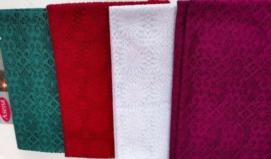 Tischdecke Häkelspitze 140x220 Häkeltischdecke Spitze Stoff Weiß Grün Rot Decke
