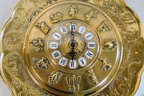 Wanduhr Messing Wanduhr Gold mit Sternzeichen Quarz Wanduhr Rund 29cm