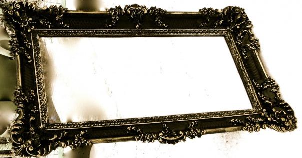 BAROCK xxl Gross Wandspiegel Rechteckig Antik Badspiegel Schwarz-Gold 96x57 1