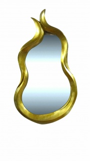 Wandspiegel Tulpe Friseur Spiegel 112x70cm Prunkspiegel Flurspiegel Gold Schwarz