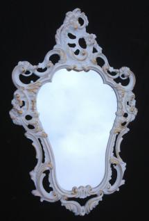 Wandspiegel Barock WEIß-Gold Oval Repro Spiegel SHABBY Landhaus 50X76 3039WG
