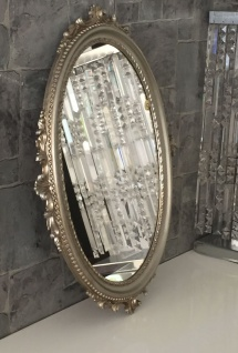 Wandspiegel Antik Silber Oval Barock Badspiegel Spiegel 62x48cm Flurspiegel C12