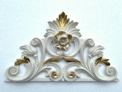 Wanddeko Barock Wandbehang Weiß Gold 34x21 Wandrelief Deko Antik Türdekoration