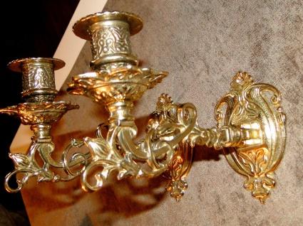2x Kerzenleuchter Antik Wandkerzenhalter , Wandleuchter Messing Jugendstil Nr258
