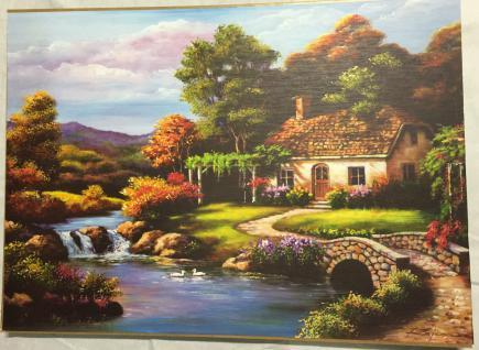 Landschafts Bild Haus am Fluß GemäldeHaus am See Wandbild 50x70 MDF Rückwand L13