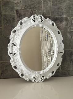 Wandspiegel Weiß Barock Oval Spiegel Antik 45x38 Bad/Flur/Kosmetikspiegel Rahmen