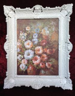 Gemälde Blumen in Vase Wandbild 57x47 Bild mit Rahmen Blumen Bild 03 Blumenbund