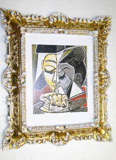 Bild mit Rahmen Picasso Gemälde mit Rahmen Rechteckig 45x37 BAROCK