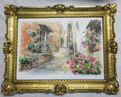 Gerahmte Gemälde Haus in Italien Landschaft 90X70 Sizilien Bild mit RahmenL11