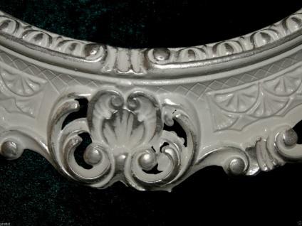 BILDERRAHMEN+GLAS Weiß-Silber Oval Antik Barock Fotorahmen 45X37 Spiegelrahmen