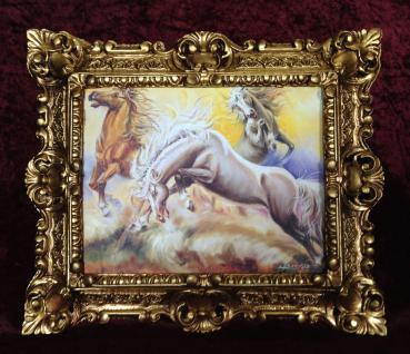 Bild mit Rahmen Barock Gold Gemälde Pferd Wandbild Tiere 45x38 Pferde Bild 3