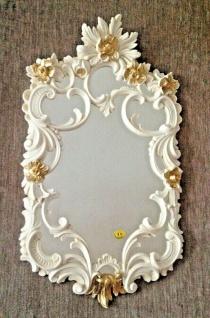Wandspiegel Barock Weiß-Gold Antik Jugendstil 60X35 Flurspiegel Elfenbeinweiß