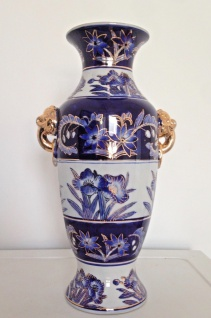 Dekoratives Bodenvase Weiß Blau Gold Henkel Vase Elefanten Motiv Kobaltblau NEU