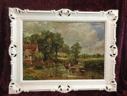 Gerahmte Gemälde 90x70 Landschafts Bild Dorf Fluss Kunstdruck Pferde Kutsche 2