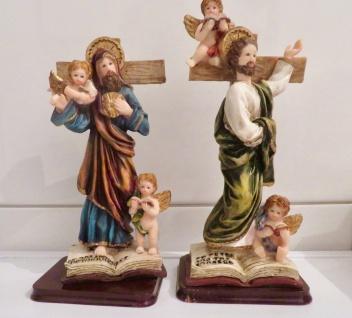 2 x Christliche Heiligenfigur Jesus Kreuz Jesus Christus mit Engel sculpture