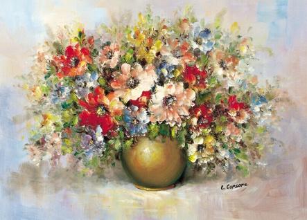 Blumen Bilder 50x70 Wilde Blumen mit Vase Gold Bild auf MDF Platte Wandbild