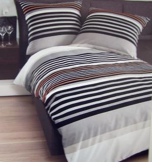 By Janine Mako Satin Bettwäsche 135x200 anthrazit-orange-Taube 80x80 Baumwolle