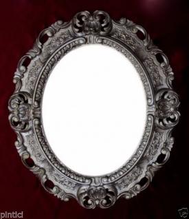 Bilderrahmen +Glas Antik Silber Oval Fotorahmen barock 45X37 Altsilber