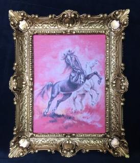 Bild mit Rahmen Pferde Wandbild mit Rahmen 57x47 Wanddeko PFERD Weiß Gemälde