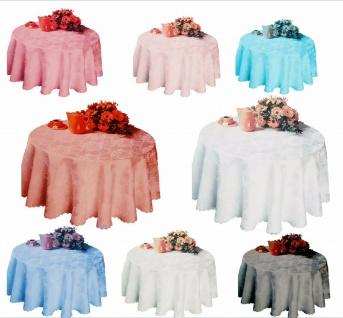 Tischdecke 160 Rund Tischwäsche jacquard Stoff Damast Bügelfrei Blumenmuster