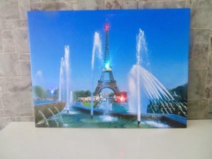 LED Bild mit Beleuchtung Leinwand Paris eiffelturm Wandbild Leuchtbild 60x80 - Vorschau 2
