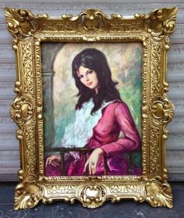 Die Dame in Rot Barock Bild Frauenbild 56x46 Kunstdruck Bild Rahmen Wandbild
