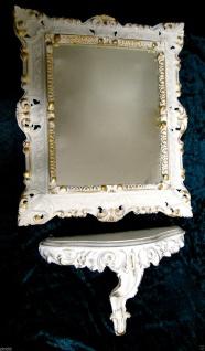 Set Wandspiegel+Wandkonsole Weiß-Gold Barock 45x37 Spiegel mit Konsole Ablage - Vorschau 1
