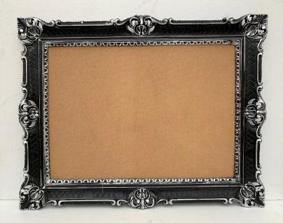 Bilderrahmen Schwarz Silber+GLAS 90x70 Barock Foto Hochzeitsrahmen Antik 50x70