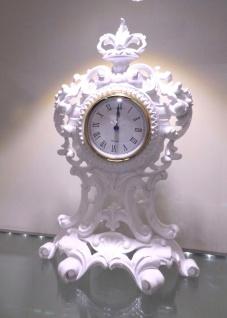 Tischuhr Weiß Kaminuhr Antik Barock 36 cm Standuhr Quarz dekoratives Schrankuhr