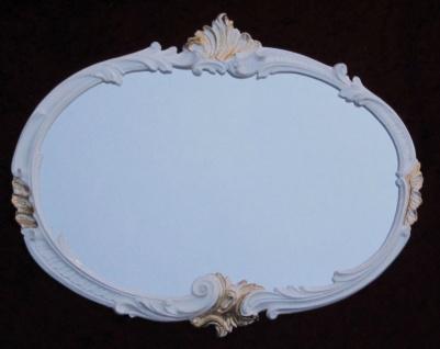 Wandspiegel Weiß-Gold Retro MÖBEL Vintage Oval Spiegel Antik 52x42cm Barock C17