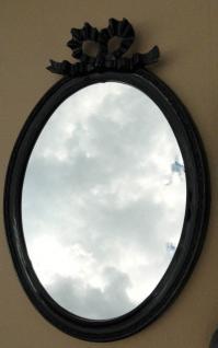 Wandspiegel Schwarz Silber Spiegel 57x41 BAROCK Oval massiv schleife Wanddeko 1 - Vorschau 5