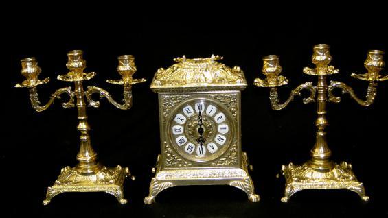 Messing barock Kaminuhr*Tischuhr*Antik*Uhr Messing 82-410 Set DEKO GOLD
