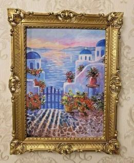 Mykonos 90x70 Wandbild Kunstdruck Bild Blumen Meer Griechenland 50x70 Poster