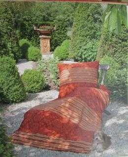 Janine Mako-Satin Bettwäsche 135x200 Bettgarnitur Blumen gestreift Ornament