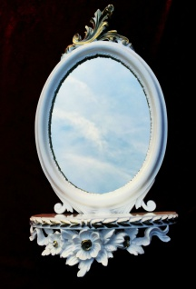 Wandspiegel Weiss Silber Barock mit Wandkonsole Antik Spiegel 48x25 Oval cp91 - Vorschau 3