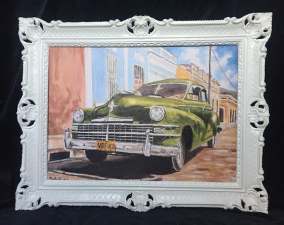Auto Cuba Grün Bild Rahmen Wandbild 70x90 Oldtimer Classic Cuban Auto