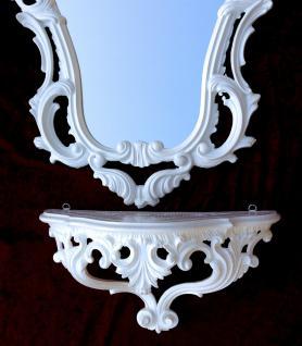 Wandspiegel Weiß Barock mit Wandkonsole 50X76 Spiegelablage Kommode Retro Repro - Vorschau 5