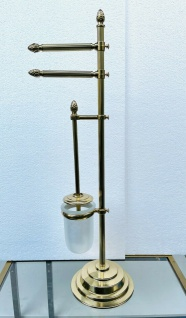 Messing WC Garnitur Badartikel Toilettenbürste Klopapierhalter Ständer 71cm