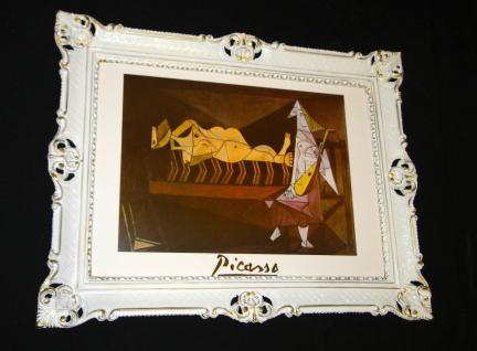 Gemälde Bild mit Rahmen 90x70 Bilderrahmen Weiß Gold BAROCK Antik PICASSO G