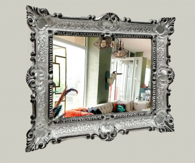 Wandspiegel Silber Schwarz Barock 56x46 Badspiegel Antik vintage Retro Rokoko