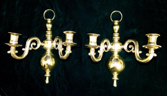 2 x Wandkerzenhalter, Kerzenleuchter Klavierleuchter, Messing mehrarmig Leuchter