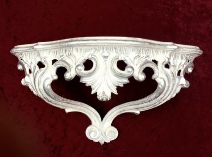 Spiegelkonsole, Wandkonsole, Regal, Wandregal, WEIß Silber 38x20 ANTIK, Ornamente
