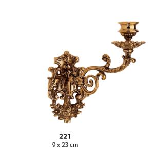 Wandkerzenhalter Kerzenhalter Messing Gold 9 x 23cm Klavierleuchter Massiv 221