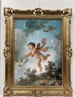 Schutzengel Engel Wandbild Schlafzimmer Heilige Bild+ Bilderrahmen Barock Antik