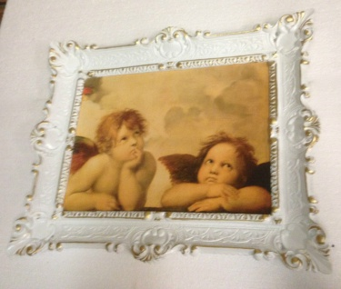 Bild mit Rahmen weiß-gold barock 56x46-30x40 Gemälde Antik Erzengel Raphael - Vorschau 4